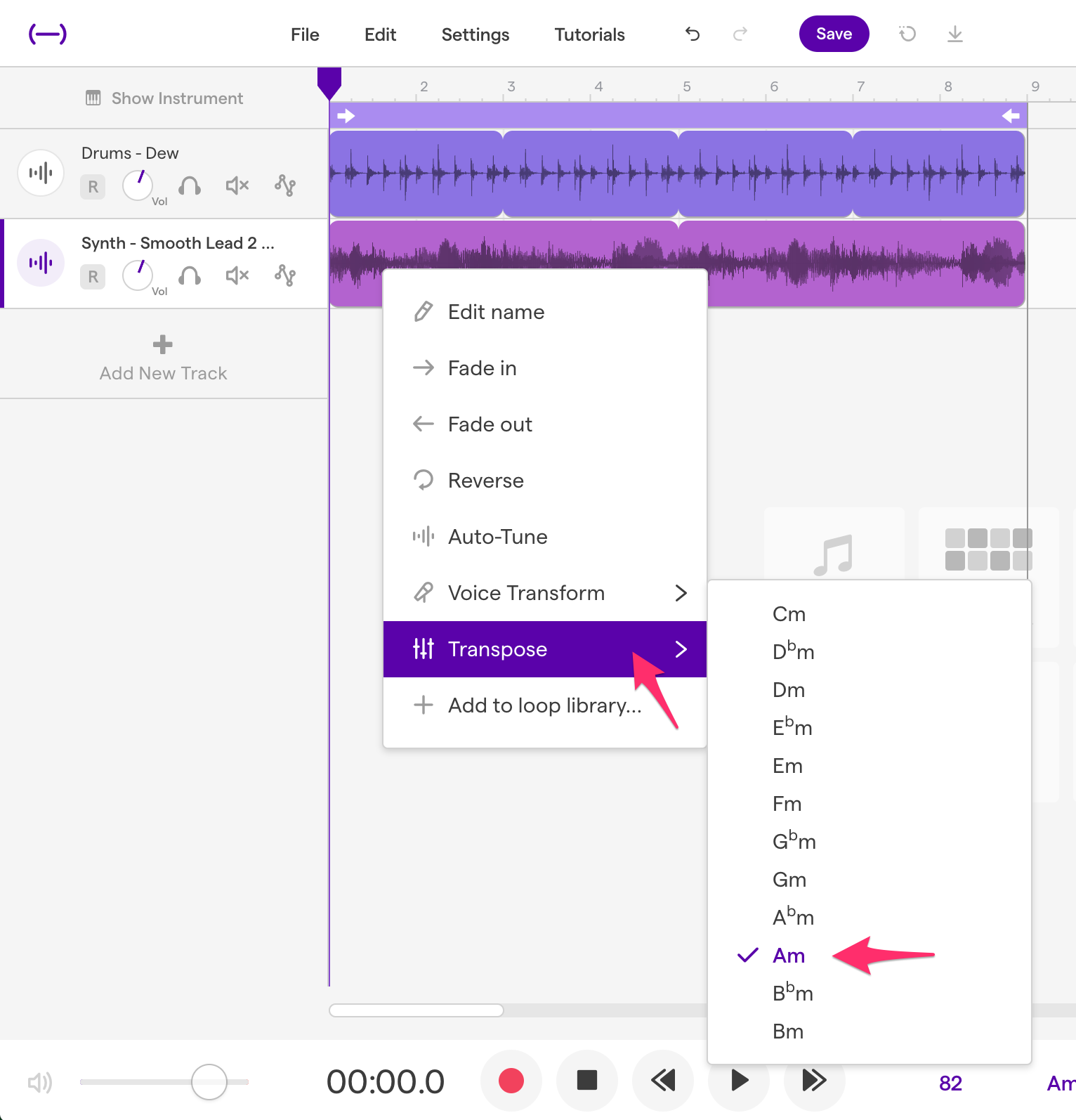 How to change the pitch of a region – Soundtrap Support